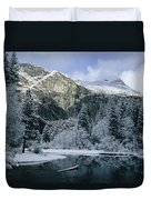 A Winter View Of The Merced River Duvet Cover