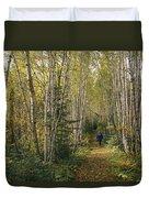 A Woman Walks Down A Birch Tree-lined Duvet Cover