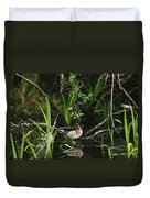 A Wood Duck Reflected In Creek Water Duvet Cover