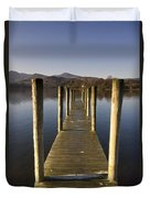 A Wooden Dock Going Into The Lake Duvet Cover