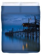 A Wooden Pier With Lights On It At Duvet Cover