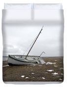 A Wooden Sailboat Is Beached Duvet Cover
