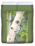 A Woodpeck Behind An Eye Of A Tree Duvet Cover