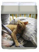 A Yawning Cat Wakes From A Nap Duvet Cover