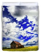 Abandoned Farmhouse In A Canola Field Duvet Cover