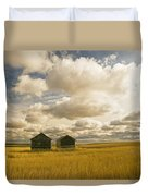 Abandoned Grain Bins With Hail Damaged Duvet Cover