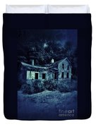 Abandoned House At Night Duvet Cover