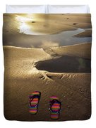 Abandoned Thongs Duvet Cover by Avalon Fine Art Photography