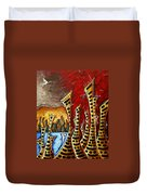 Abstract Art Contemporary Coastal Cityscape 3 Of 3 Capturing The Heart Of The City II By Madart Duvet Cover