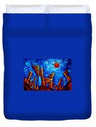 Abstract Cityscape Art Original City Painting The Lost City II By Madart Duvet Cover