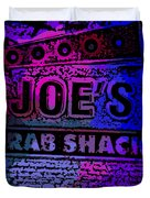 Abstract Joe's Crabshack Sign Duvet Cover