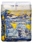 Abstract Kotel Prayer At The Western Wall Waiting For Peace In Blue Yellow Silver Jerusalem Israel  Duvet Cover