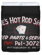 Ace's Hot Rod Shop Duvet Cover by Clarence Holmes