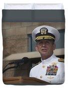 Admiral Eric Olson Speaks Duvet Cover by Michael Wood