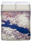 Aerial Of Abiquiu Reservoir Covered Duvet Cover