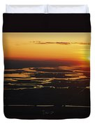 Aerial Sunset Of The Suisun Slough Duvet Cover