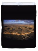 Aerial View Of Chaco Canyon And Ruins Duvet Cover