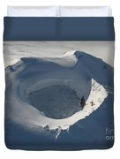 Aerial View Of Frozen Lake In Summit Duvet Cover by Richard Roscoe