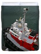 Aerial View Of Red Tug  Duvet Cover