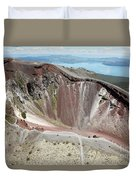 Aerial View Of Rhyolite Dome Complex Duvet Cover by Richard Roscoe