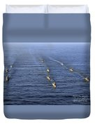Aerial View Of Ships In Formation Duvet Cover