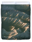 Aerial View Of Snowcapped Mountain Duvet Cover