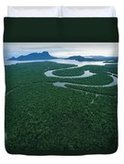 Aerial View Of The Salak River. Mount Duvet Cover