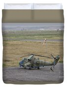 Afghan Army Soldiers Guard An Mi-35 Duvet Cover