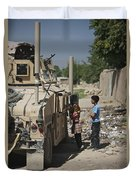 Afghan Children Ask U.s. Soldiers Duvet Cover