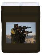 Afghan National Army Commandos Aim Duvet Cover