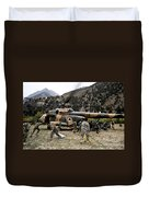 Afghan National Army Soldiers Unload Duvet Cover