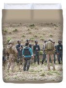 Afghan Police Students Listen To U.s Duvet Cover