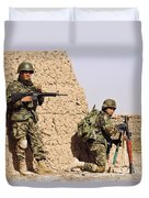 Afghan Soldiers Conduct A Dismounted Duvet Cover by Stocktrek Images