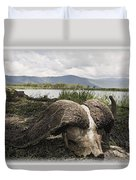 African Cape Buffalo Skull, Ngorongoro Duvet Cover by Carson Ganci