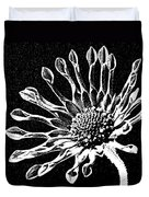African Daisy In Black And White Duvet Cover