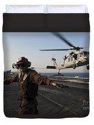 Airman Checks For A Clear Deck As An Duvet Cover