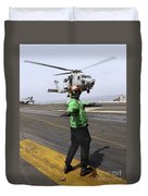 Airman Checks The Takeoff Path Duvet Cover