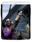 Airman Fuels An Fa-18c Hornet Duvet Cover