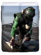 Airman Greases The Catapult Shuttle Duvet Cover
