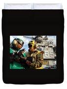 Airman Receives Proper Fire Fighting Duvet Cover by Stocktrek Images