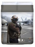 Airman Stands By With Tie-down Chains Duvet Cover