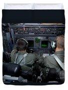 Airmen At Work In A Mc-130h Combat Duvet Cover