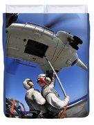 Airmen Attach Pallet Rigs To An Sa-330j Duvet Cover