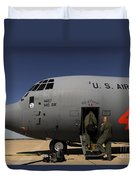 Airmen Board A C-130j Hercules At Dyess Duvet Cover