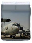 Airmen Prepare A U.s. Air Force E-3 Duvet Cover