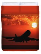 Airplane Landing At Sunset Duvet Cover