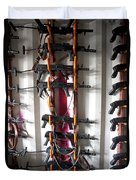 Akm Assault Rifles Lined Up On The Wall Duvet Cover