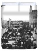 Alamo Plaza In San Antonio Duvet Cover