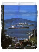 Alcatraz From San Fran Hilltop Duvet Cover by Paul W Faust -  Impressions of Light
