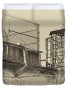 Alcatraz Recreation Yard Guard Cage And Gun Walk Duvet Cover